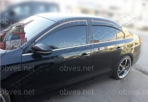 Молдинги окна нижние Volkswagen Jetta 2010-2015 (комплект 6 шт) (нержавеющая сталь)