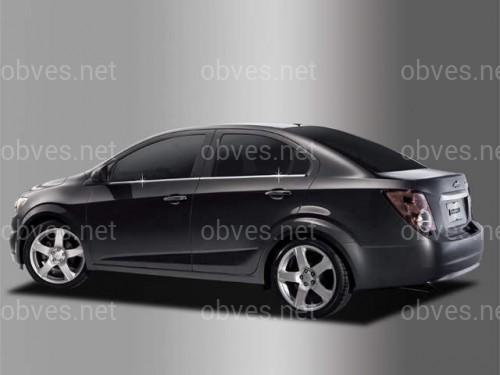 Накладки на молдинги окна нижние Chevrolet Aveo T300 2011- (нержавеющая сталь)