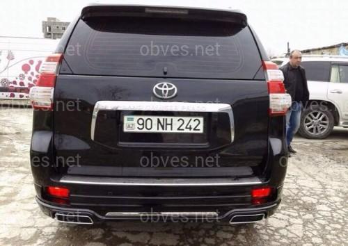 Юбка заднего бампера Modelista с выхлопными Toyota Land Cruiser Prado 150 2009- / 2013- ABS черный цвет