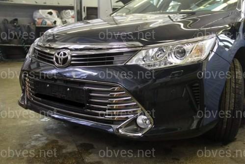 Хром накладки на решетку бампера Toyota Camry 2014- (хромированный пластик)