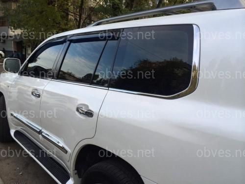 Хром молдинги накладки на окна Lexus LX 570 2008-2011 / Toyota Land Cruiser 200 2007-2018 2 части