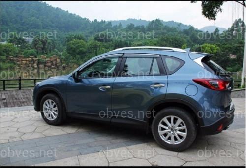 Дефлекторы окон с хром молдингом из нержавеющей стали Mazda CX5 2017-