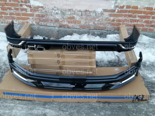 Юбка переднего бампера Modellista Toyota Land Cruiser 200 2015-  черный цвет