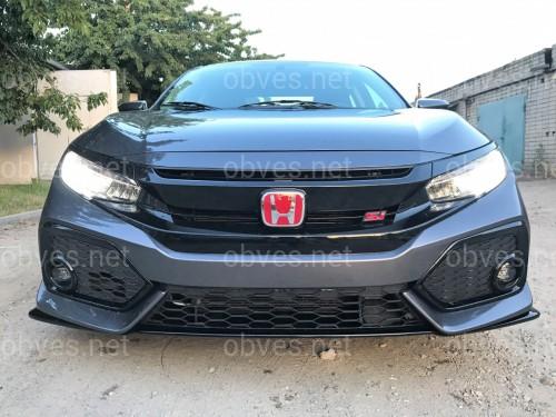 Решетка радиатора SI Honda Civic 4D / 5D 2016- с ресницами, черный цвет