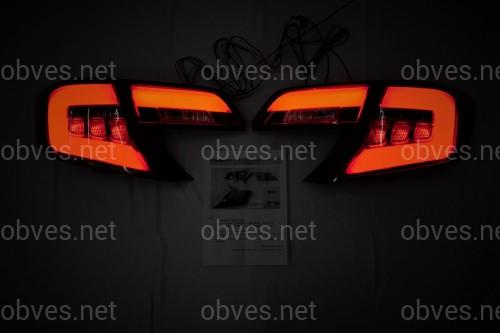 Задние фонари Toyota Camry 50 USA 2012-2014 красно-белые LED