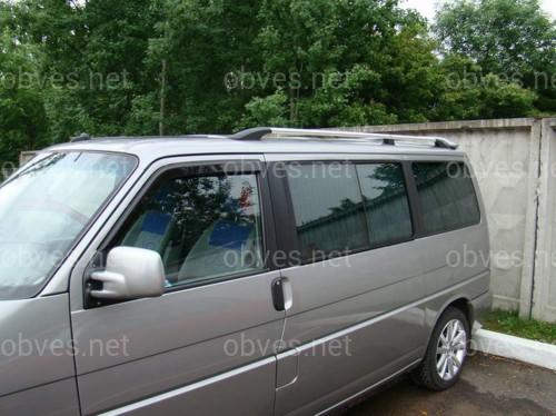 Рейлинги на крышу с металлическими креплениями Volkswagen T-4 Transporter/ Caravelle/ Multivan 1991-2003 КОРОТКАЯ БАЗА цвет  под хром (полированный алюминий)