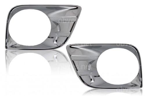 Хром накладки на передние противотуманные фары Toyota Land Cruiser Prado 150 2009-2013 хромированный пластик